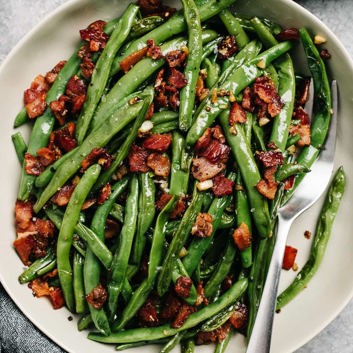 Green Beans With Bacon Quick One Pan Recipe Our Salty Kitchen