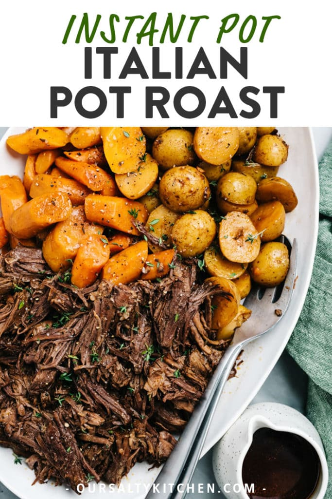 Pinterest image for instant pot pot roast recipe.