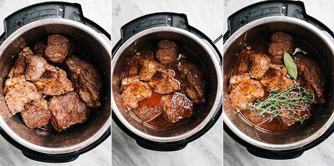 A collage showing how to make italian pot roast in the instant pot.