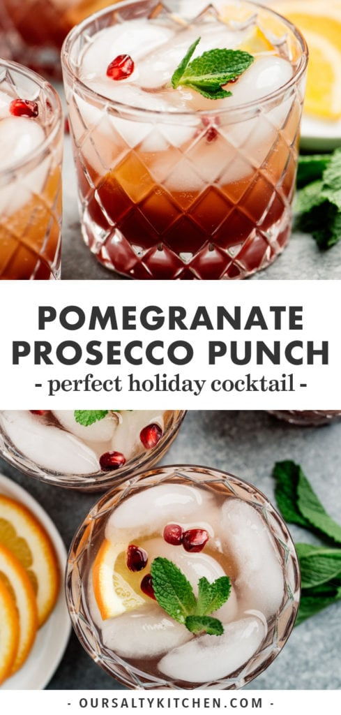 Pinterest collage for prosecco punch recipe with pomegranate and orange.