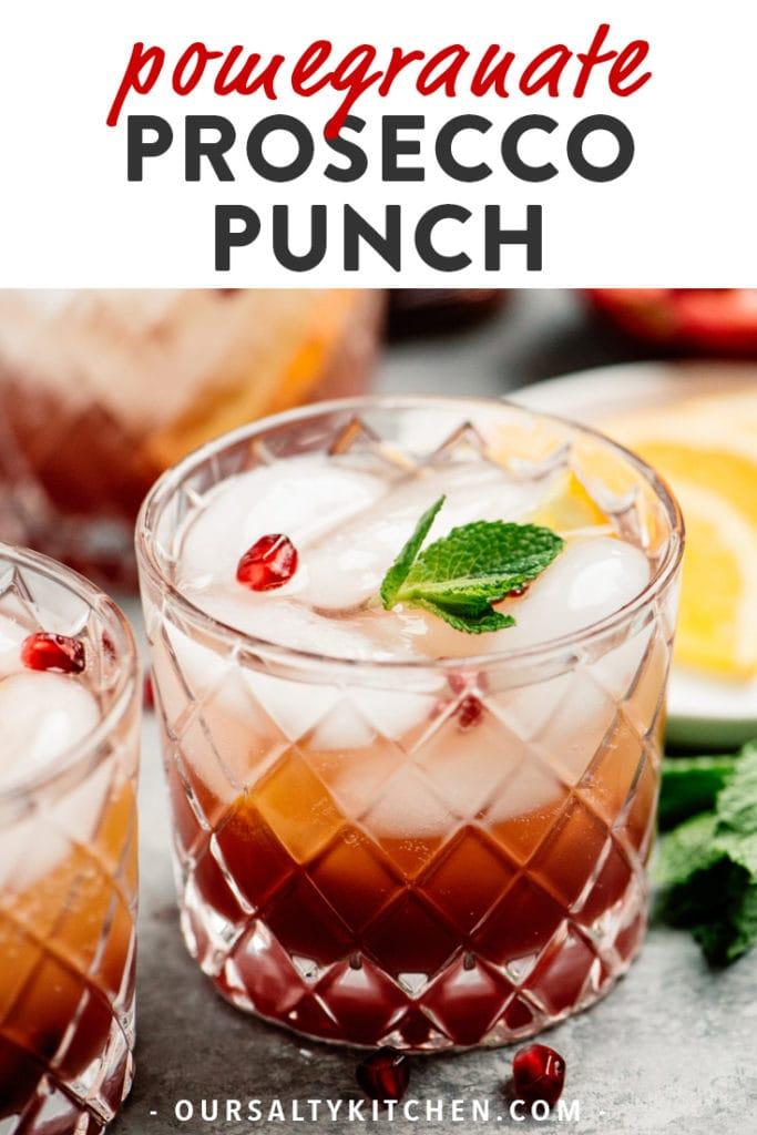 Pinterest image for pomegranate prosecco punch recipe.