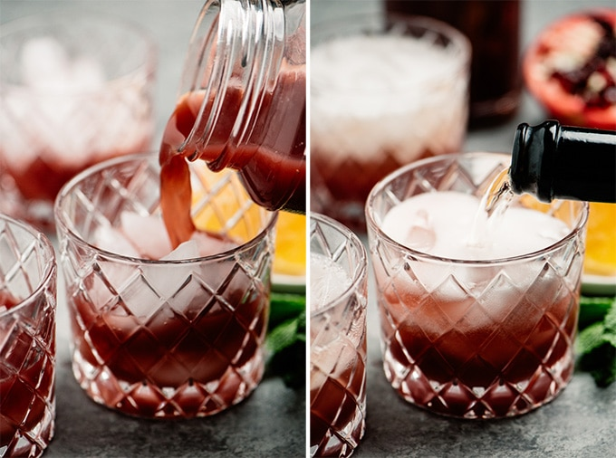 Two images showing how to make a pomegranate champagne punch cocktail.