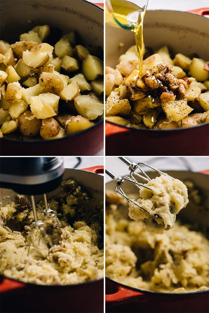 A collage of images showing how to make olive oil mashed potatoes with roasted garlic.