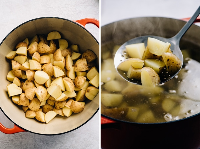 Yukon gold potatoes in a dutch oven before and after being boiled.