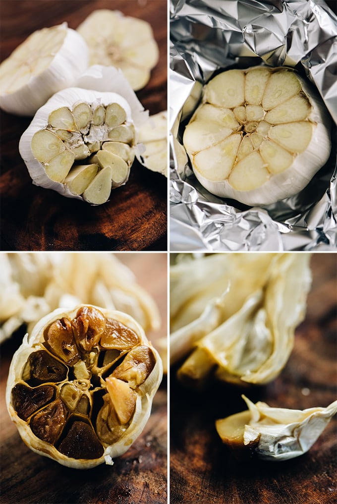 A collage of images showing how to make roasted garlic.