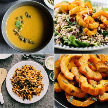 A collage of winter squash recipes showing how to cook winter squash.