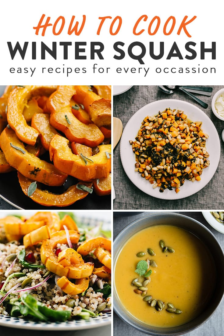 A collage of images showing various winter squash recipes.