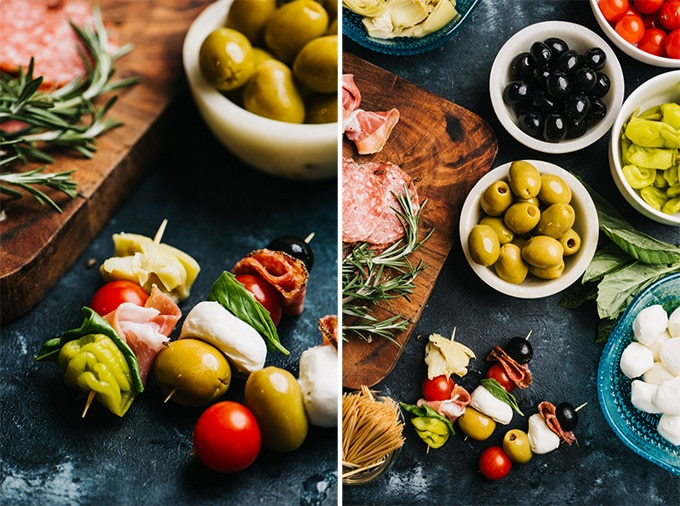 Two images showing how to make antipasto skewers.