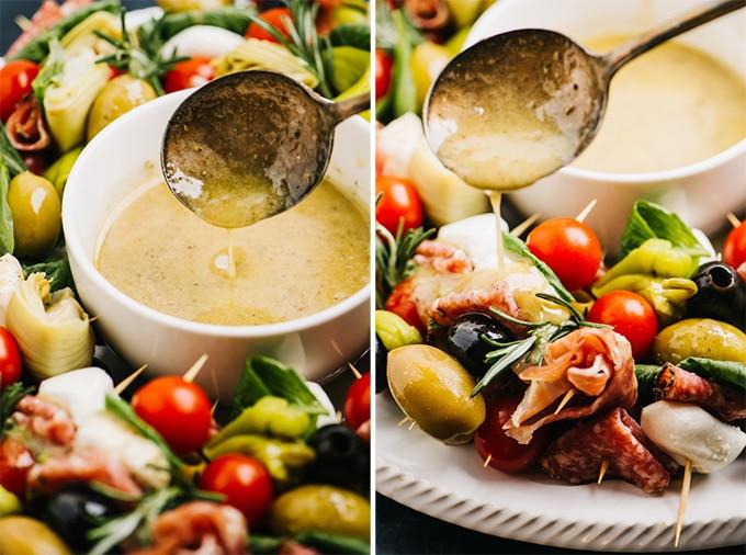 Side view, anchovy vinaigrette for an italian antipasto platter.