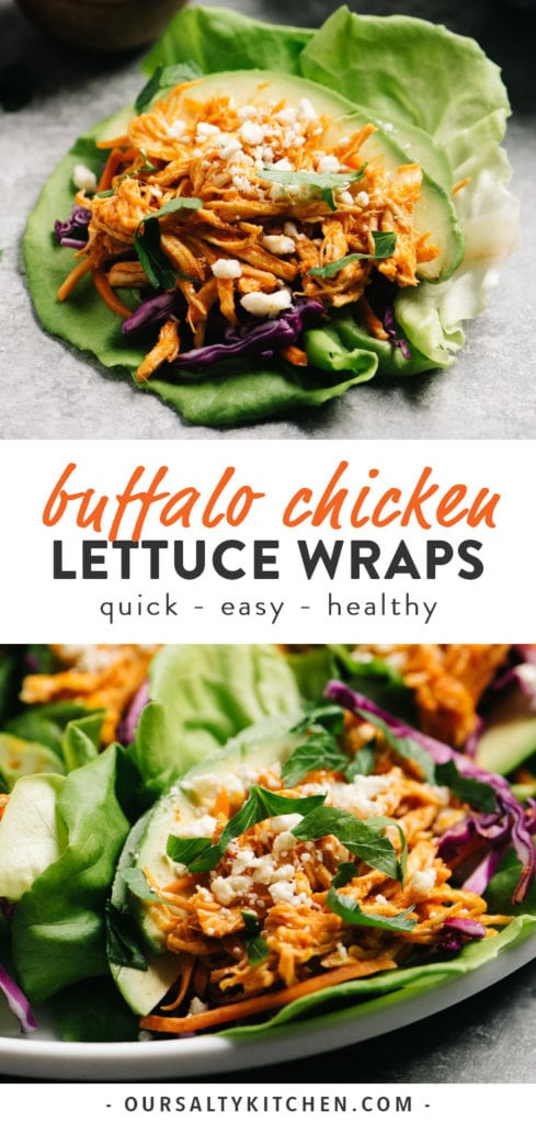 Pinterest collage for quick and easy Buffalo Chicken Lettuce Wraps.