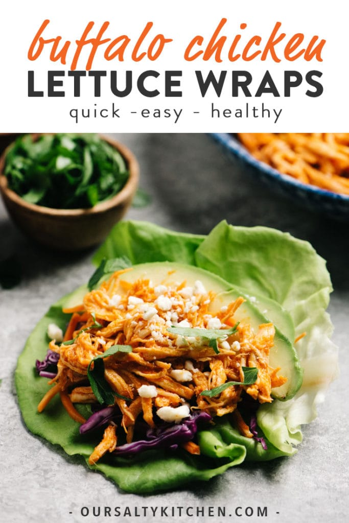 Pinterest image for healthy low carb buffalo chicken lettuce wraps.