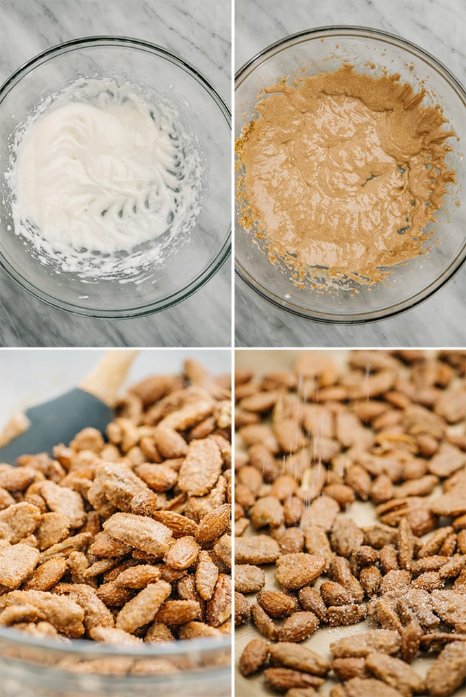 A collage showing how to make candied pecans and almonds with cinnamon sugar.