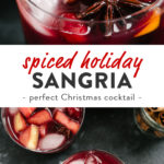 Pinterest collage for a red wine christmas sangria recipe.