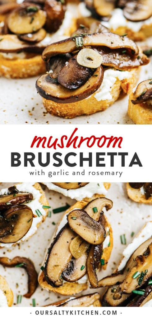 Pinterest collage for mushroom bruschetta recipe.