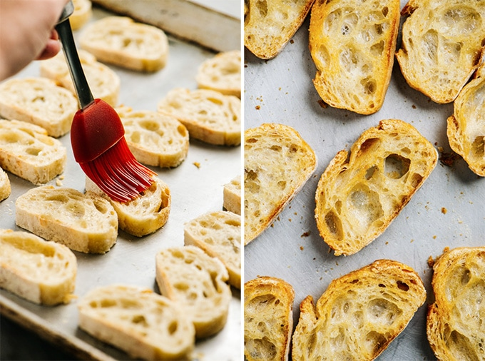 A collage showing how to bake crostini toasts.