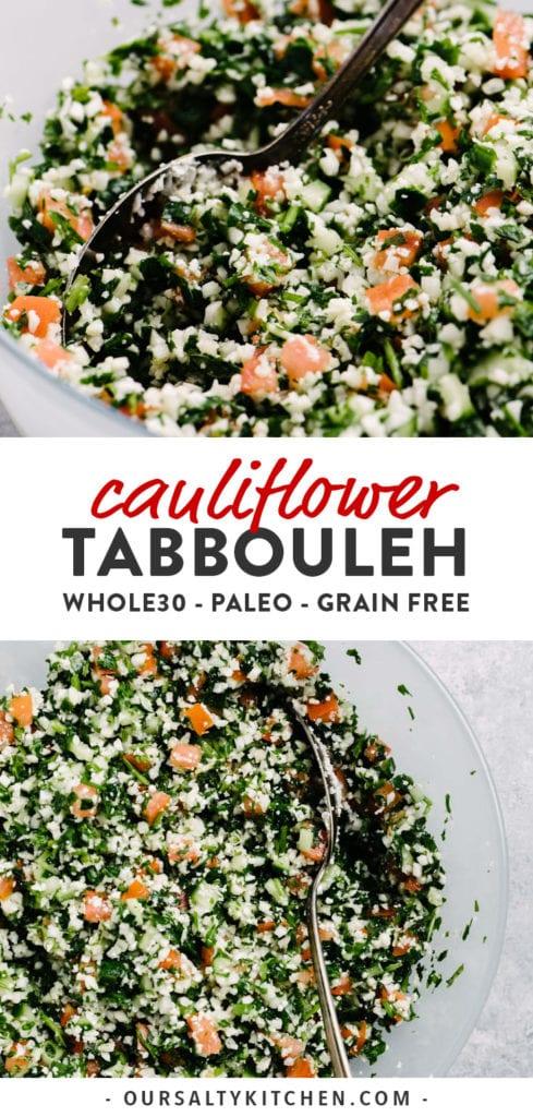 Pinterest collage for cauliflower tabbouleh recipe.