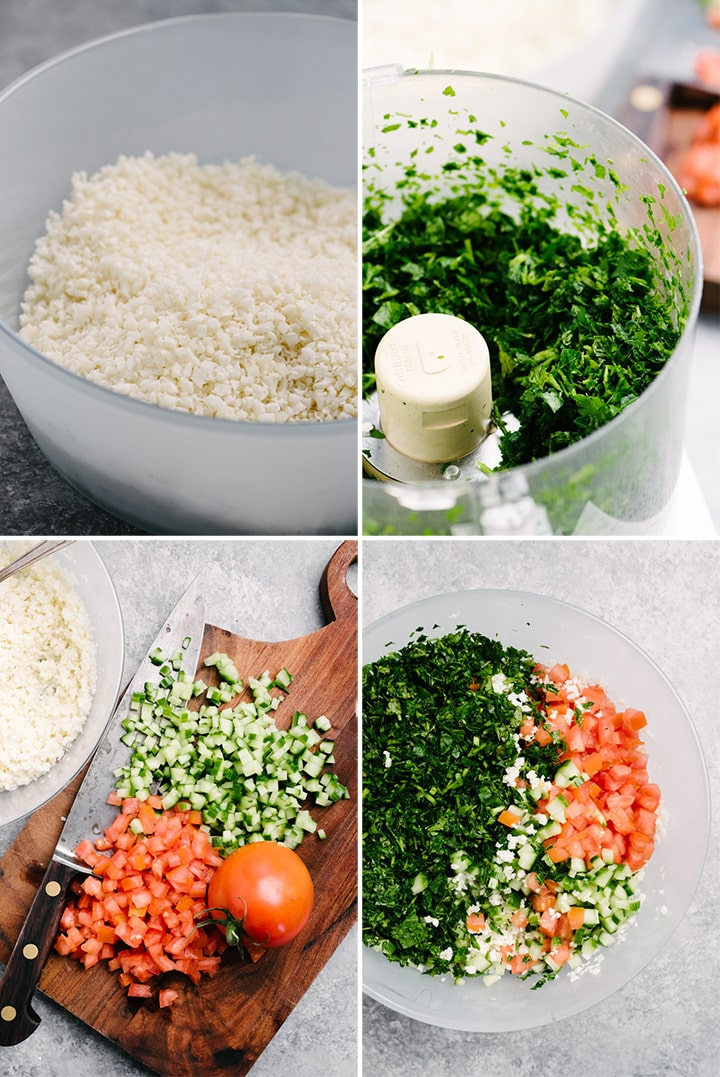 A collage of images showing how to make Whole30 cauliflower tabbouleh.