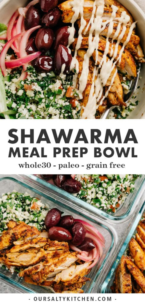 Pinterest collage for shawarma bowl recipe.