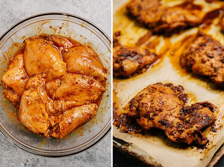 Chicken thighs marinating in shawarma seasoning, and oven roasted chicken shawarma on a baking sheet.