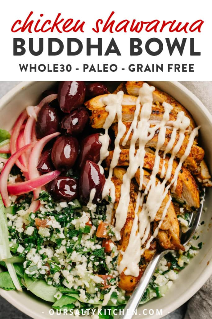 Pinterest image for chicken shawarma meal prep bowl.