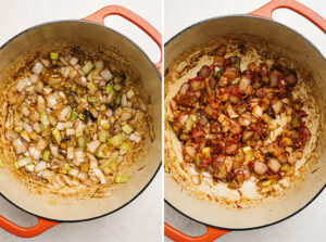 Sauteed onions and leeks in a dutch oven; sauteed onions with tomato paste added.