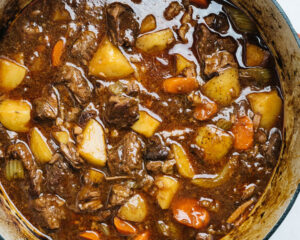 Cooked beef stew in a dutch oven.