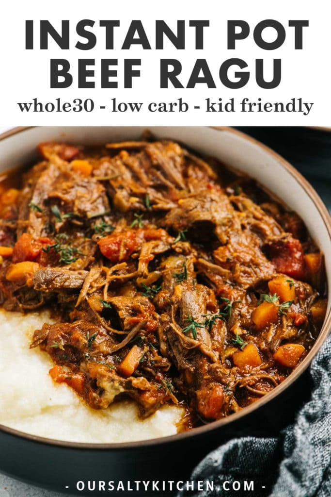 Pinterest image for beef ragu cooked in the instant pot.