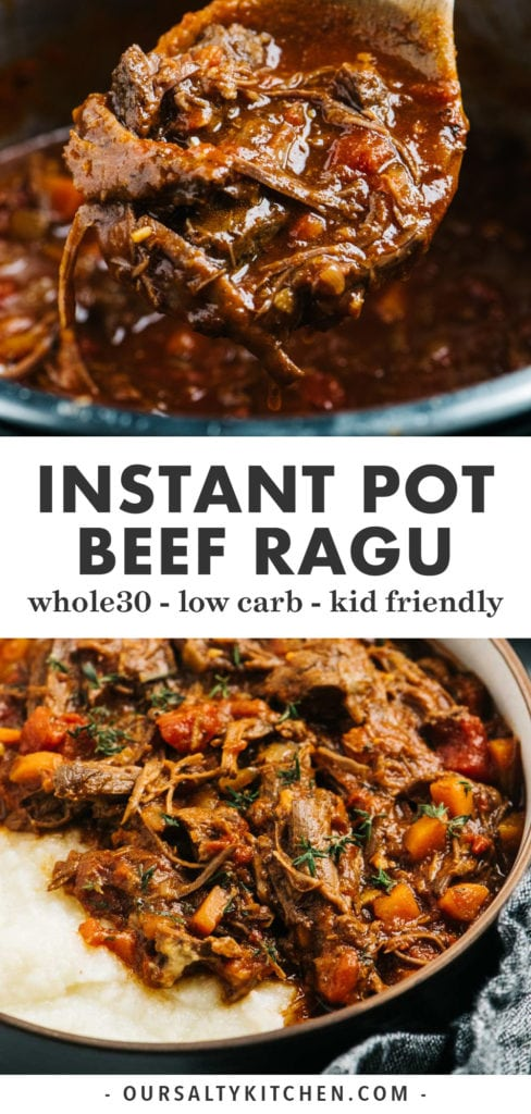 Pinterest collage for beef ragu recipe cooked in the instant pot.