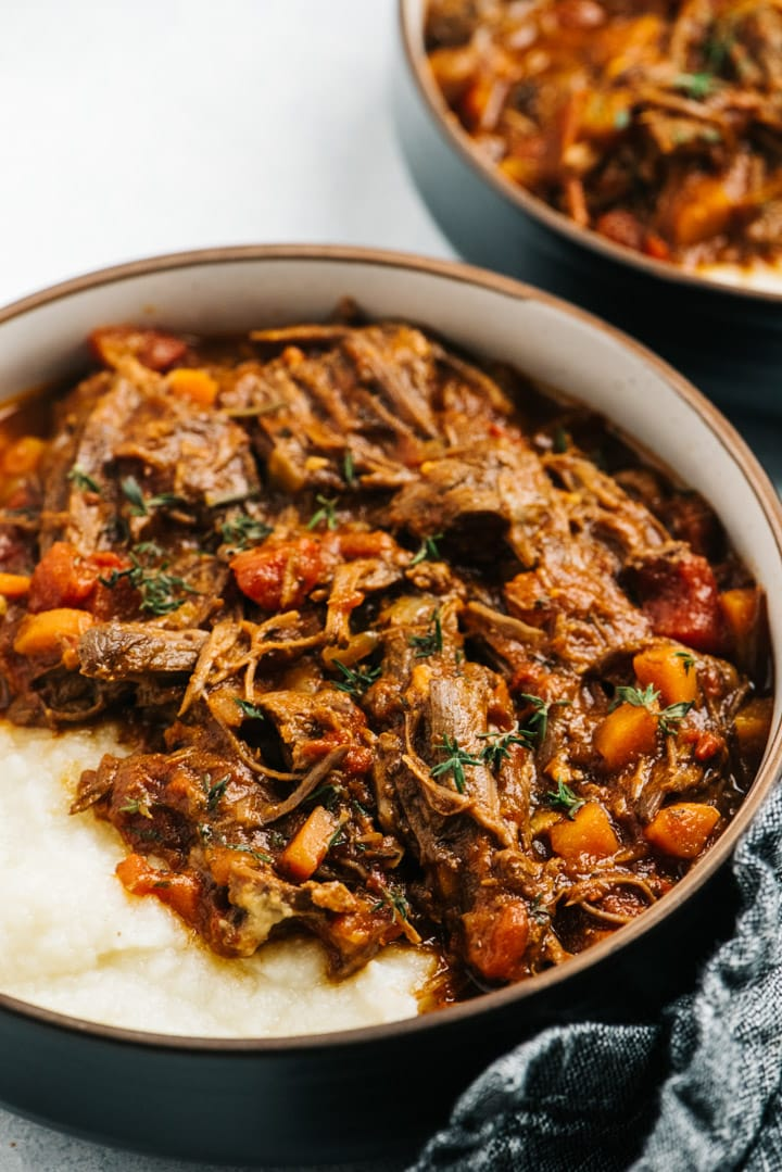 Side view, two bowls of whole30 beef ragu cooked in the Instant Pot.