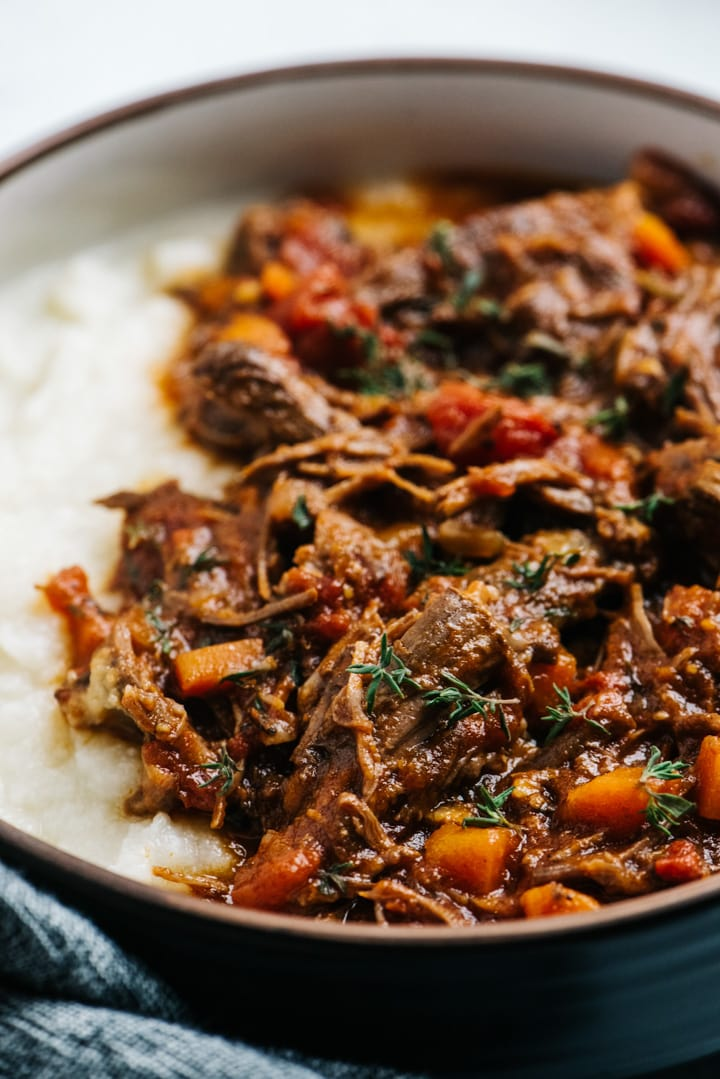 A bowl of beef ragu prepared in the Instant Pot.
