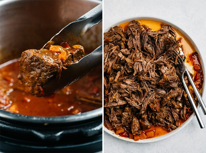 Side by side images of beef chuck fresh from the instant pot, and shredded beef chuck roast on a plate.
