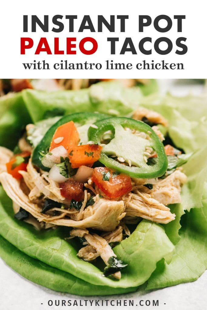 Pinterest image for Whole30 chicken tacos recipe.