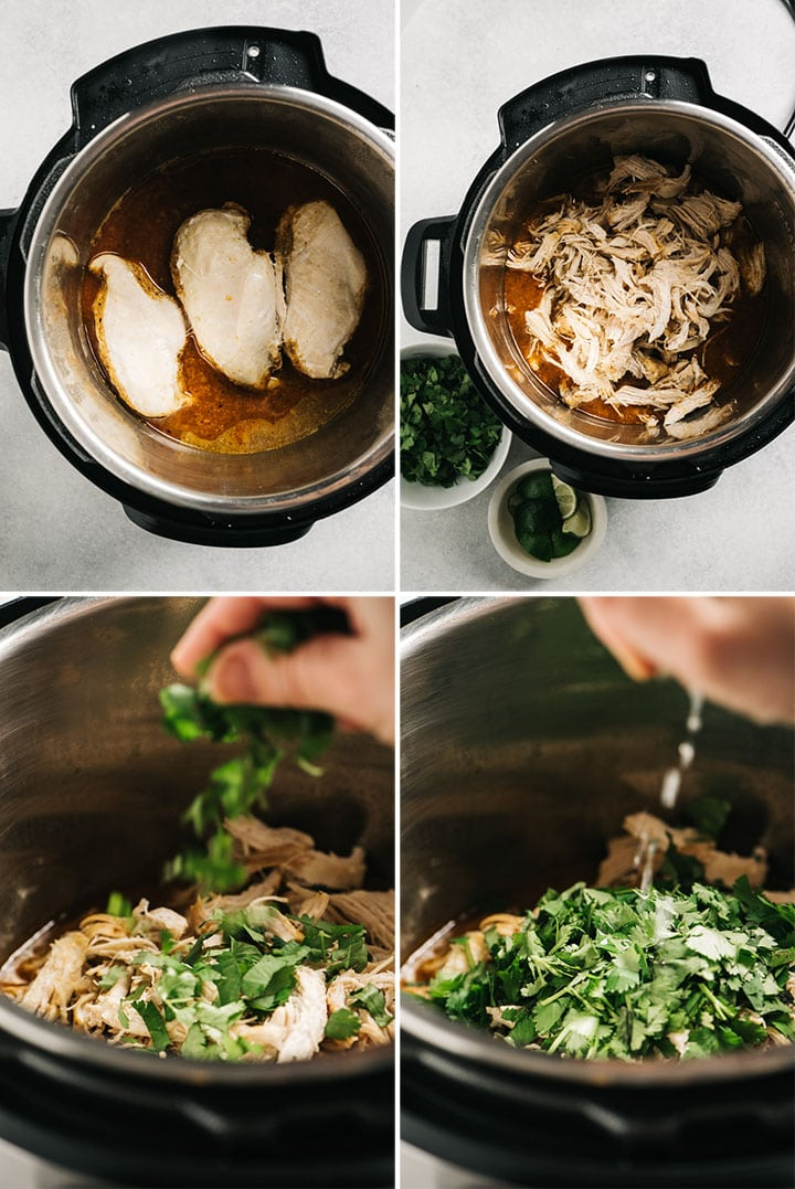 A collage showing how to shred and season instant pot cilantro lime chicken.