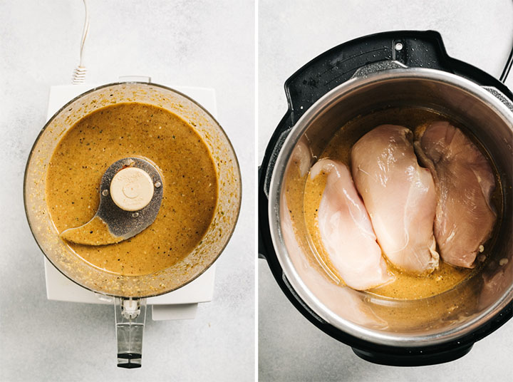 Chicken breasts in an instant pot with seasoned cooking liquid.