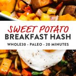 Pinterest collage for vegan and whole30 sweet potato hash recipe.