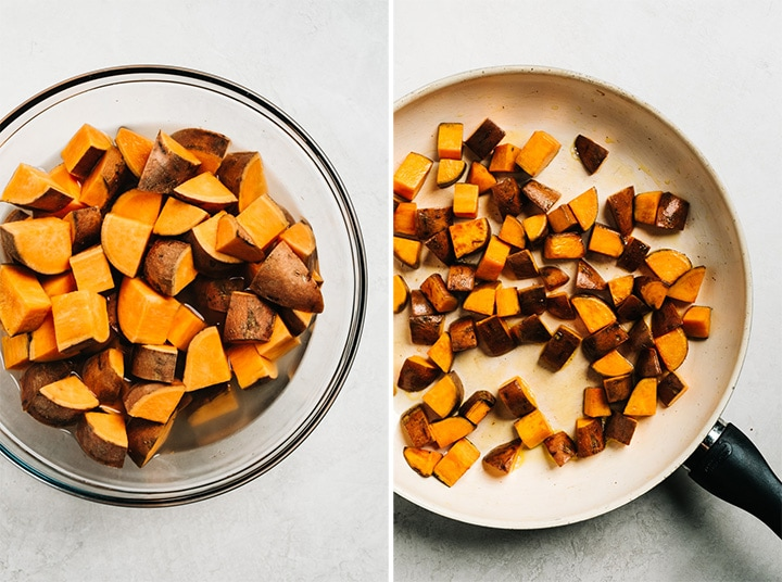 A collage showing how to microwave then pan saute diced sweet potatoes.