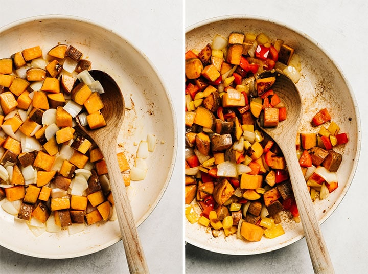 Step by step photos showing how to make a sweet potato hash recipe.