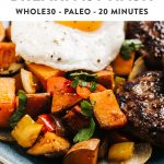 Pinterest image for a vegan and whole30 sweet potato hash recipe.