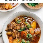 Pinterest image for dutch oven braised Whole30 Beef Stew.