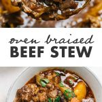 Pinterest collage for a paleo and Whole30 beef stew recipe braised in a dutch oven.