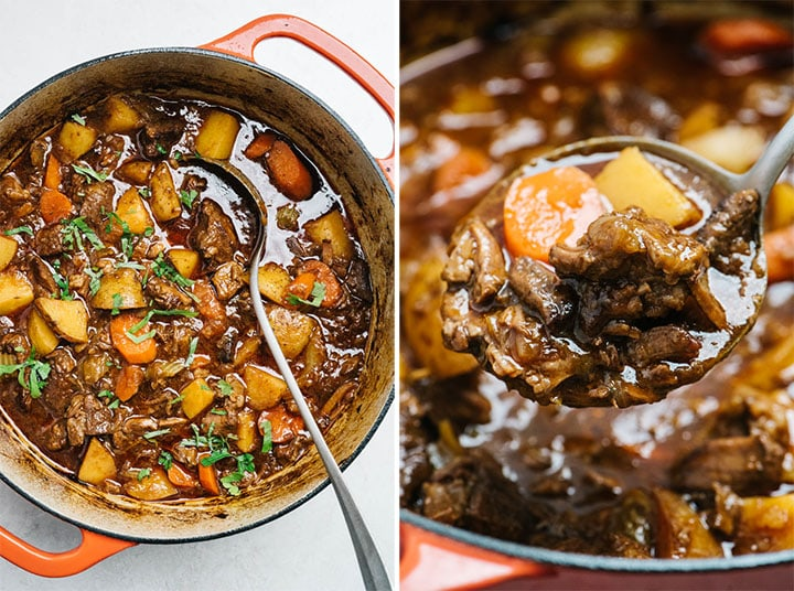 Whole30 beef stew in a dutch oven; a ladle of beef stew.