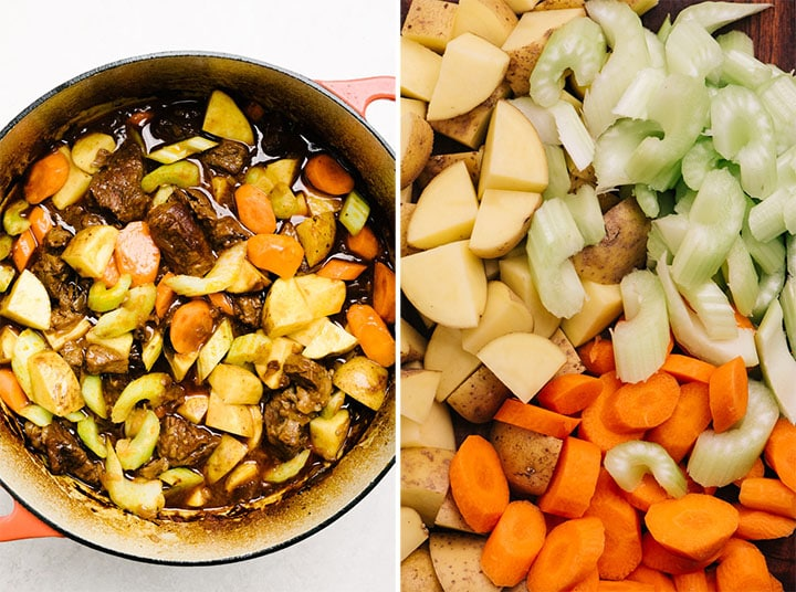 Chopped potatoes, carrots, and celery on a cutting board; chopped vegetables added to a dutch oven of braised beef.