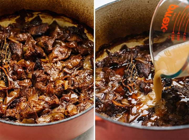 Arrowroot starch slurry being added to braised beef in a dutch oven.
