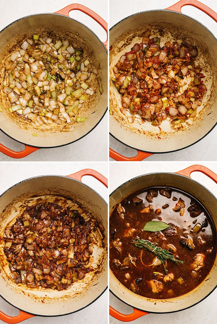 A collage showing how to make dutch oven braised beef stew.
