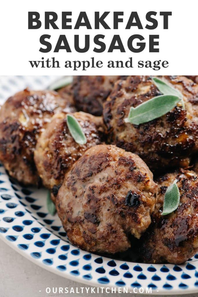 Pinterest image for apple sage breakfast sausage recipe.