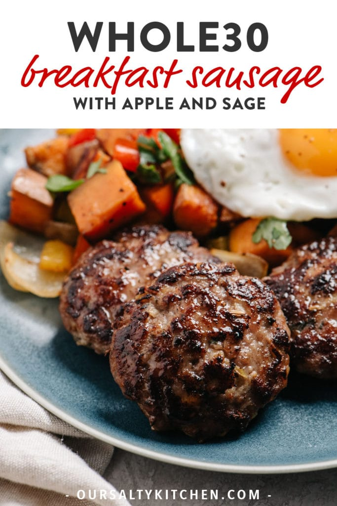 Pinterest image for whole30 breakfast sausage with apple and sage.