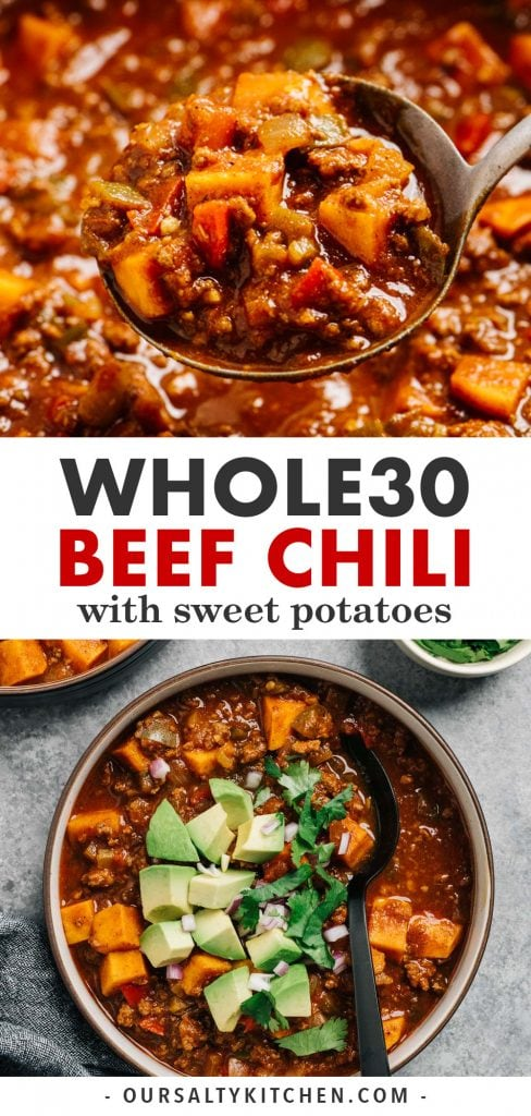 Pinterest collage for a Whole30 beef chili recipe.