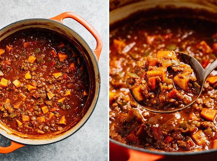 A dutch oven filled with healthy whole30 chili.