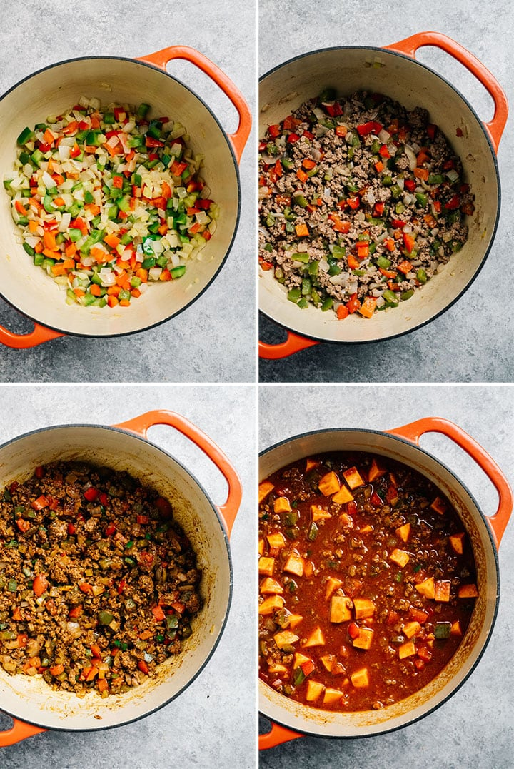 A collage showing how to make whole30 chili with ground beef and sweet potatoes.