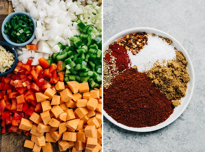 Diced vegetables on a cutting board and a plate with chili spices.